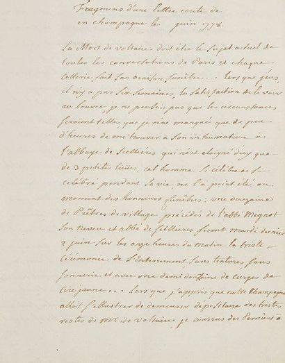 [VOLTAIRE]. Manuscrit, juin 1778; cahier de 9 pages et demie petit in-4 (cachet...