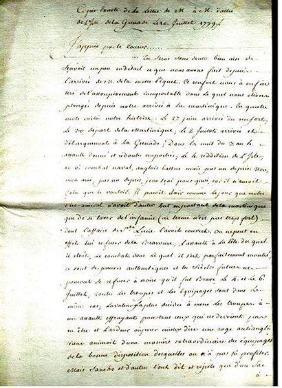 amériQUE. Manuscrit sur la bataille de la Grenade, [1779]; 8 pages in-fol. {CR}Copie...