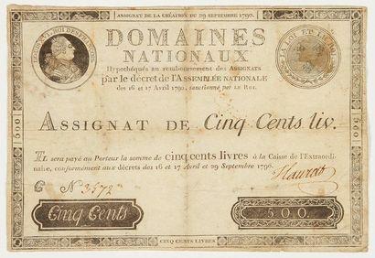 assignat. Assignat de 500 livres, signature manuscrite, [1790]; 13,5x19,5 cm (un...