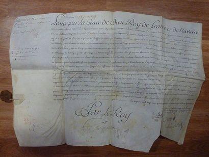 AUVERGNE. 2 liasses de documents, 1714-1743; 9 pièces dont 5 sur vélin oblong in-fol....