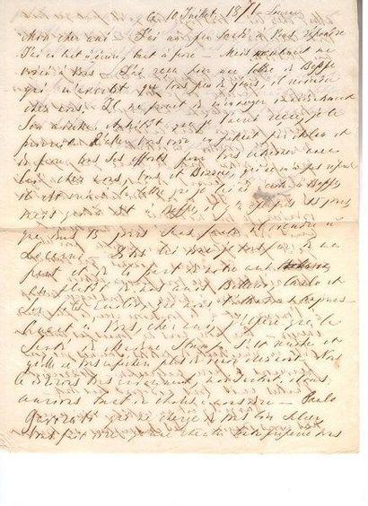 Mikhaïl Bakounine. 2 L.A.S. «M», Locarno 10 et 18 juillet 1871, à un ami italien;...