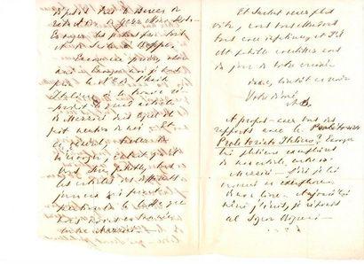 Mikhaïl Bakounine. L.A.S. «MB», Locarno 18 août 1871, à un ami italien; 3 pages...