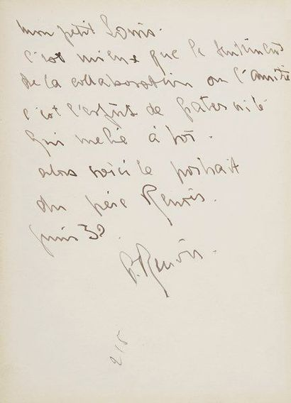 Pierre RENOIR (1885-1952) comédien. L.A.S., juin 1932, à Louis Jouvet; 1 page in-12...