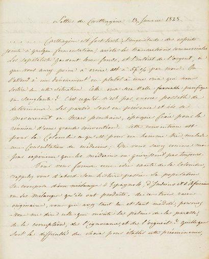 colombie. Manuscrit, Lettres de Carthagène,...