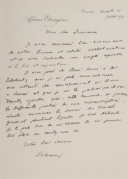 Théophile DELCASSÉ (1852-1932) diplomate...