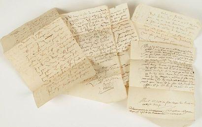 DIVERS. 13 lettres et documents, XVIe-XIXe...