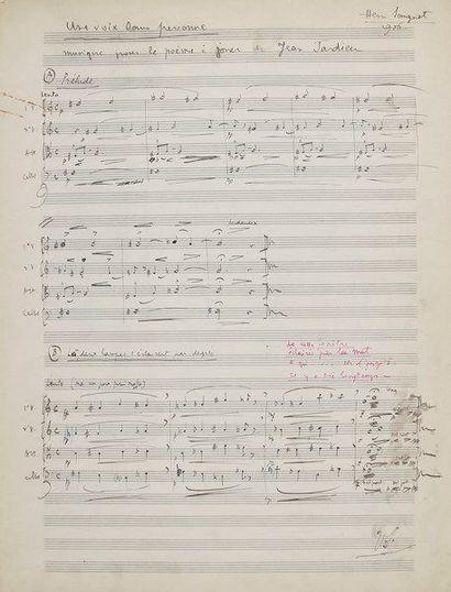 Henri SAUGUET (1901-1989). Manuscrit musical...