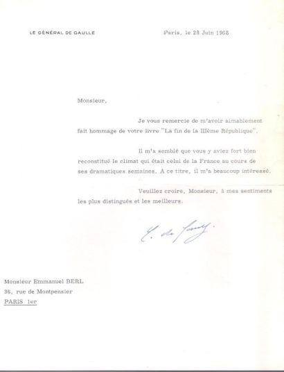 Charles de GAULLE (1890-1970). L.S., Paris...