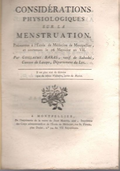 médecine. 22 imprimés, Montpellier ans VII-X...