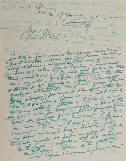 Jules ADLER (1865-1952). 9 L.A.S., 1930, à Georges Sauclières; 17 pages formats...