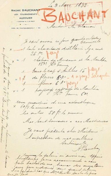 André BAUCHANT (1873-1958). 7 L.A.S., Auzouer...