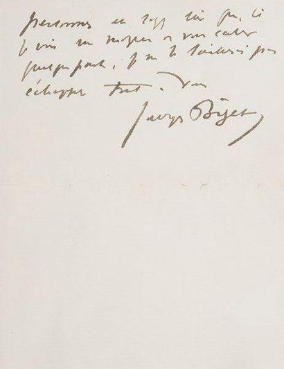 Georges BIZET (1838-1875) compositeur. L.A.S.,...