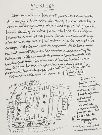 Roger BISSIÈRE (1888-1964). L.A.S. avec dessin,...