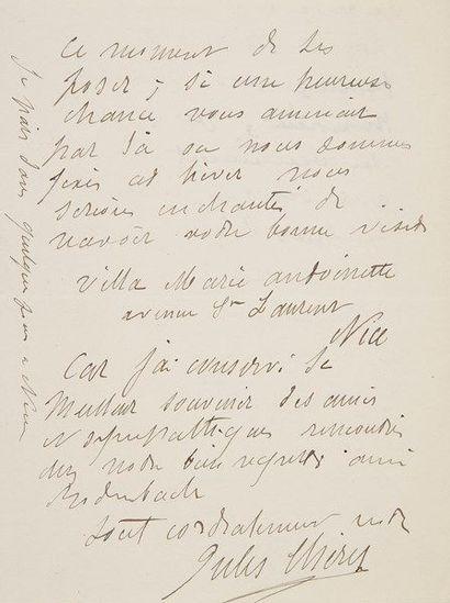 Jules CHÉRET (1836-1932) peintre et affichiste. 3 L.A.S., Paris et Nice 1908-1914,...