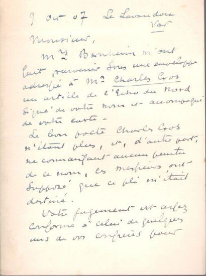 Henri-Edmond CROSS (1856-1910). L.A.S., Le...