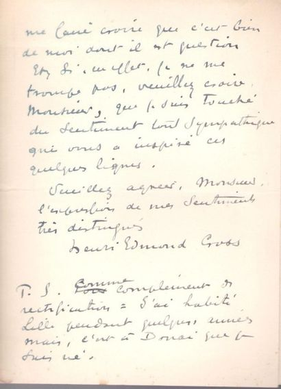 Henri-Edmond CROSS (1856-1910). L.A.S., Le Lavandou (Var) 9 octobre 1907, au critique...