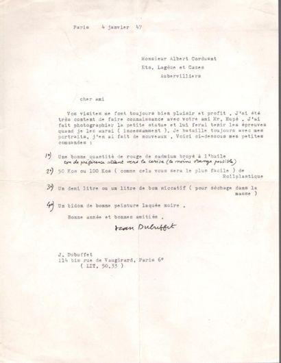Jean DUBUFFET (1901-1985). L.S. une ligne...