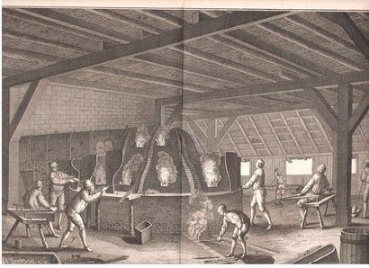 ENCYCLOPÉDIE. Ensemble de gravures, tirages du XVIIIe siècle. {CR}Ébénisterie-Marqueterie:...