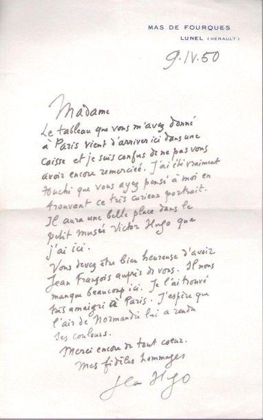 Jean HUGO (1894-1984) peintre, arrière-petit-fils de Victor Hugo. L.A.S., Mas de...