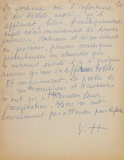 Valentine HUGO (1890-1968) peintre. Manuscrit...