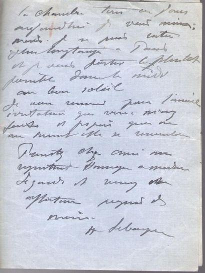 Henri LEBASQUE (1865-1937). 3 L.A.S., 1913-1914, au critique d'art Achille Segard;...