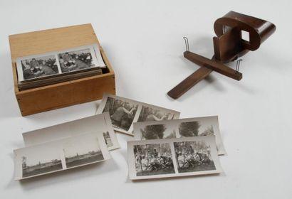 Stéréoscope de Holmes en bois et son ensemble...