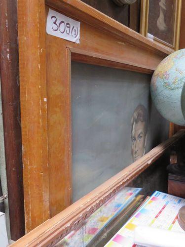 Miroir et 2 huiles sur toile : portrait de...