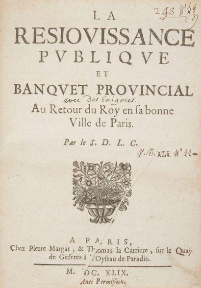 [MAZARINADE]. La Resiouissance (sic) publique...