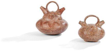 Lot de deux vases zoomorphes représentant...