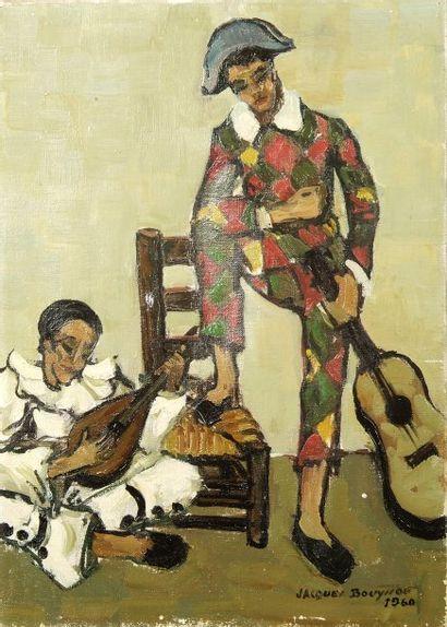 Jacques BOUYSSOU (1926-1996). Pierrot et Arlequin. Huile sur toile. Signée et datée...