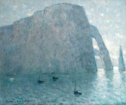 Henri Maurice CAHOURS (1889-1954). Falaise à Etretat. Huile sur toile. Signée en...