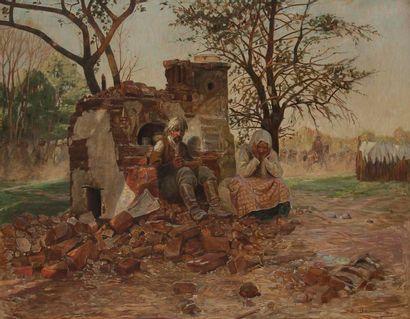 Sixtus von DZBANSKI [polonais] (1874-1942) Wolynien, Sans-abri, 1917 Huile sur toile....