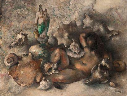 Paul-Elie GERNEZ (1888-1948) Allégorie de la mer, 1928 Huile sur carton. Signée et...