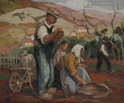 Marcel BACH (1879-1950) La Récolte des pommes de terre, 1925 Huile sur toile. Signée...
