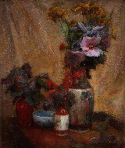 LÉON CHARLES CANNICIONI (1879-1957) Bouquet de fleurs Huile sur toile. Signée en...