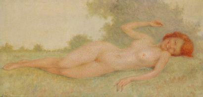 Lucien BOULIER (1882-1963) Nu allongé Huile sur panneau. Signée en bas à gauche....