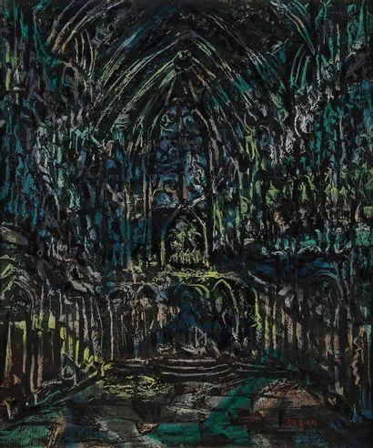 Faïbich-Shraga ZARFIN (1900-1975) Intérieur de cathédrale, vers 1960 Huile sur toile....