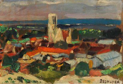 François DESNOYER (1894-1972) Le Village de Larchant Huile sur panneau. Signée en...
