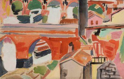 François DESNOYER (1894-1972) Albi, le Pont Aquarelle. Signée en bas à gauche. 18...