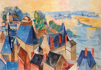 Jacques DESPIERRE (1912-1995) La Loire Huile sur toile. Signée en bas à droite. Signée...