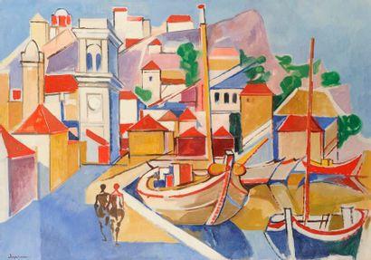 Jacques DESPIERRE (1912-1995) Grèce, l'île d'Hydra, 1976 Huile sur toile. Signée...