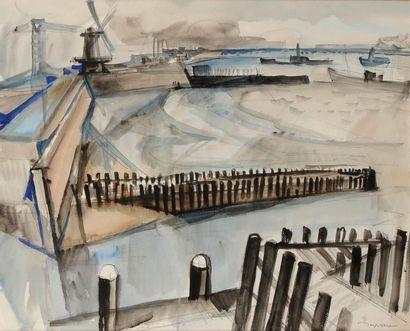 Jacques DESPIERRE (1912-1995) Flessingue (Vlissingen) Aquarelle et encre. Signée...