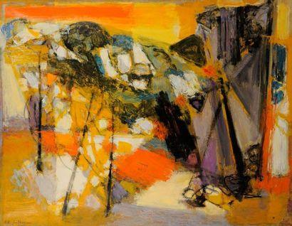 MAURICE-ELIE SARTHOU (1911-1999) Les Baux, carrières en Provence, 1957 Huile sur...
