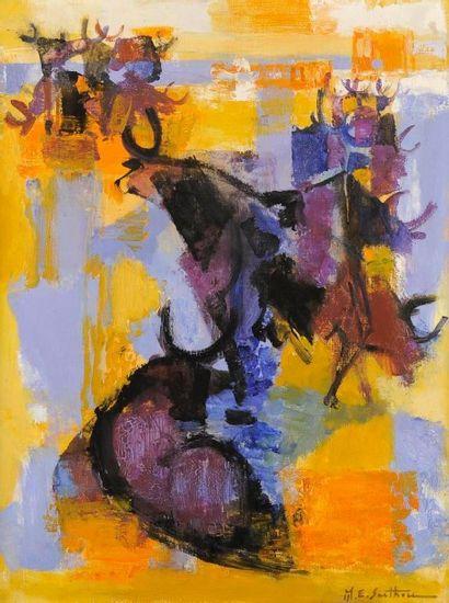 MAURICE-ELIE SARTHOU (1911-1999) Taureaux en Camargue Huile sur toile. Signée en...