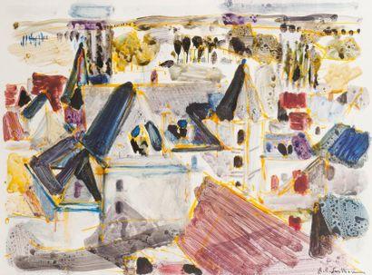 MAURICE-ELIE SARTHOU (1911-1999) Château Aquarelle. Signée en bas à droite. 43 x...