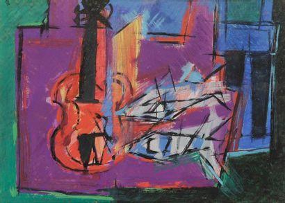 André BRECHET (1923-1992) Nature morte, 1958 Gouache. Signée et datée en bas à gauche....