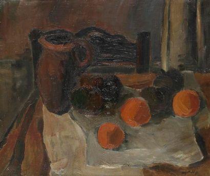 Roger MUHL (1929-2008) Nature morte, 1953 Huile sur toile. Signée et datée en bas...