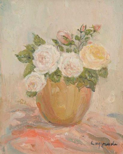 Pierre LAPRADE (1875-1931) Vase de fleurs Huile sur toile. Signée en bas à droite....