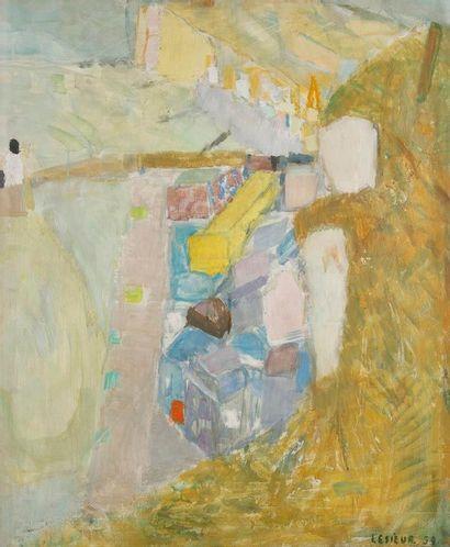 Pierre LESIEUR (1922-2011) Paysage de Dieppe, 1959 Huile sur toile. Signée et datée...