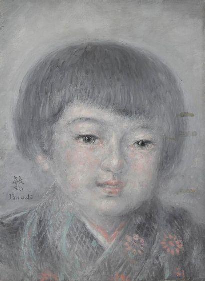 Toshio BANDO [japonais] (1890-1973) Portrait de fillette Huile sur toile. Signée...